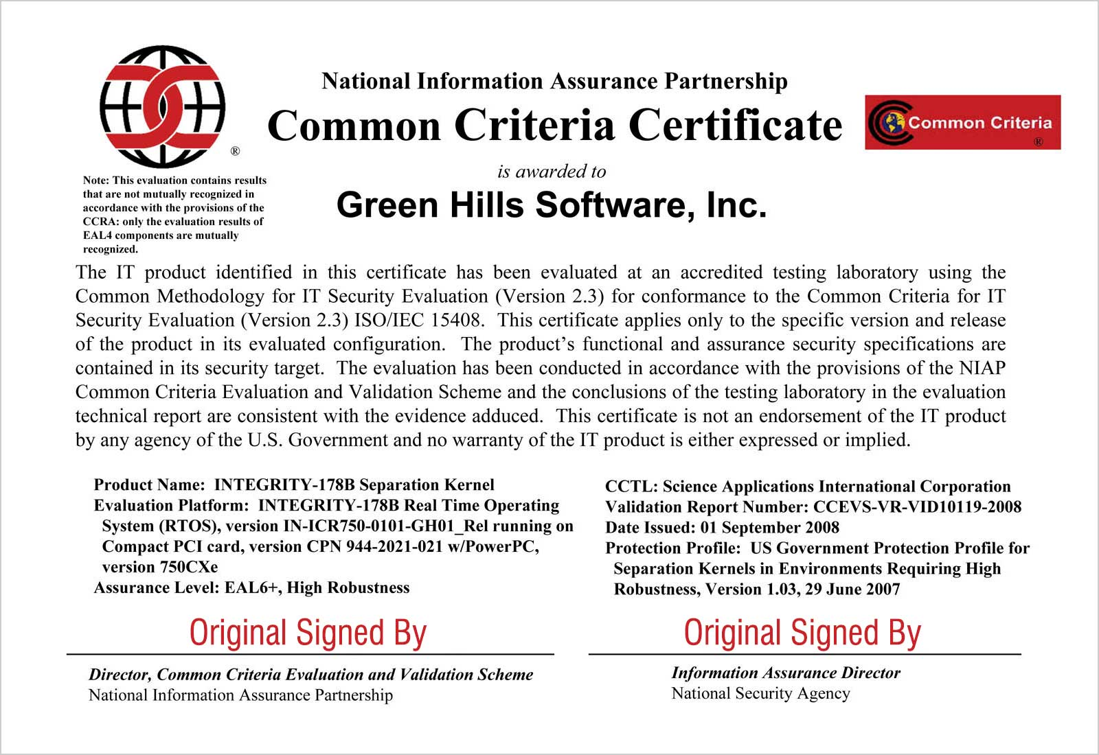 Common Criteria Certificate